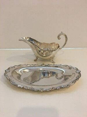 Towle Old Master Plated Gravy/sauce Boat & Separate Underplate  Scroll Edge