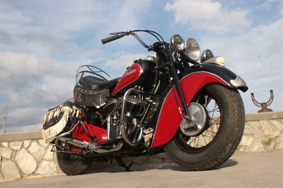 1946 Indian Chief Motorcycle 1200cc V Twin with Buddy Seat and Saddle Bags