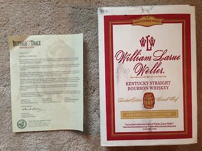 WILLIAM LARUE WELLER Box & Letter from Buffalo Trace Antique Collection Bourbon