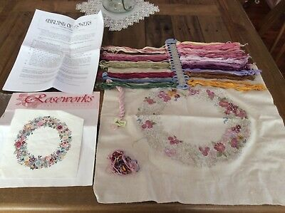 Roseworks Embroidery Kit ( Unfinished) Plus Cross Stitch Pattern & Threads