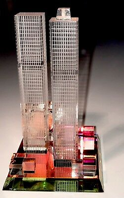 Xanadu Colored Glass Twin Towers NY Miniature Clock   Works! New Battery  Rare!