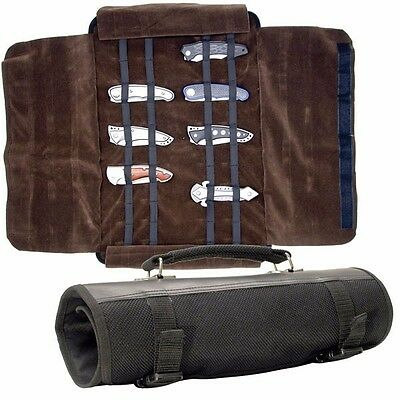 """12"""" X 6"""" KNIFE ROLL Black Nylon Carrying Case w/ Handle holds 24 PCS"""