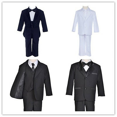 Black Boy Teen Men Tuxedo Tailcoat Suit 5Pcs Set Formal Tuxedo Set Black Tuxedos