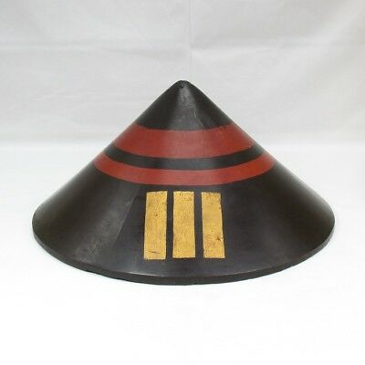 F753: REAL Japanese old SAMURAI military hat JINGASA for foot soldier w/crest. 1
