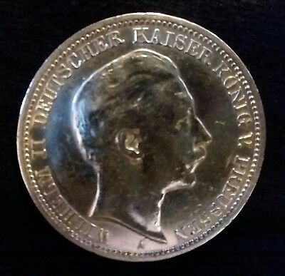 1909 A German States Prussia Silver 3 Drei Marc William II
