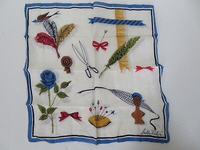 Vintage Sally Victor Handkerchief - Floral, Pin Cushion, Scissors, Feather