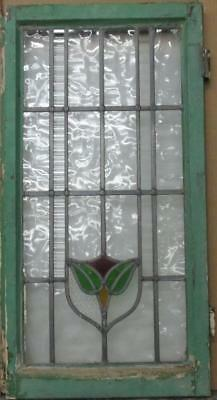 """LARGE OLD ENGLISH LEADED STAINED GLASS WINDOW Simple Floral 18"""" x 33"""""""