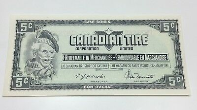 1974 Canadian Tire 5 Five Cents CTC-S4-B-TN Uncirculated Money Banknote E046