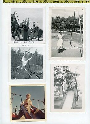 (24) Vintage photo lot / SWING SETS Playgrounds & SLIDES - OLD SNAPSHOTS 1920-70