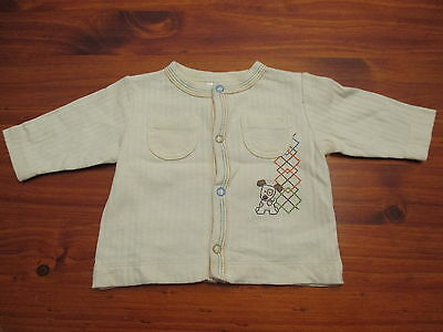 Absorba Unisex Size 000 Jacket, Boys jumper yellow puppy embroidery striped