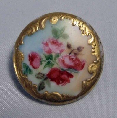 "Antique Porcelain 1 1/16"" Hand Painted Button Center Roses With Gold Pretty!"