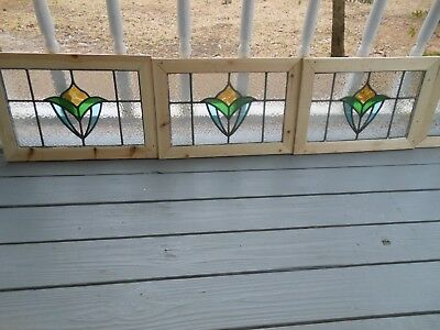 MA13-545 Lovely Older Leaded Stain Glass Window F/ England Reframed 4 Available