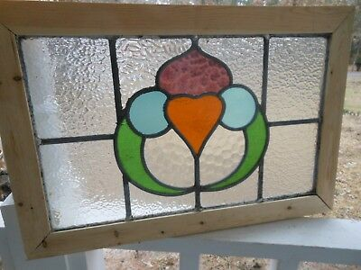 MA13-541 Lovely Older Leaded Stain Glass Window From England Reframed