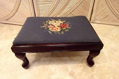 Bombay Needlepoint Victorian Foot Stool Rest Antique Tapestry Ottoman Floral