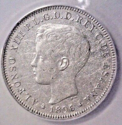 1896 Puerto Rico 40 Centavos Coin ANACS AU50 details Cleaned Alfonso XIII