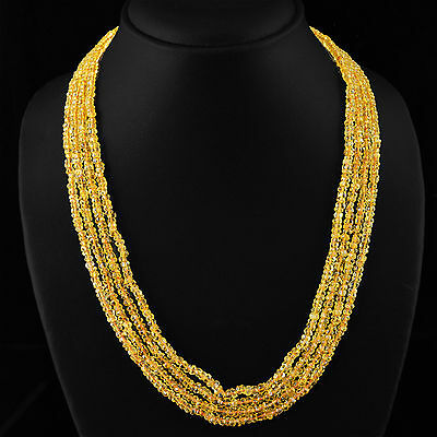 Beautiful 250.00 Cts Natural 4 Line Rich Yellow Citrine Faceted Beads Necklace