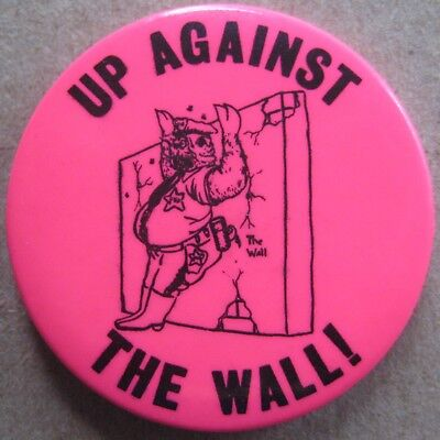 Up Against the Wall! Pig RARE Black Panther Party Pinback Button Civil Rights