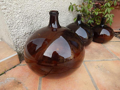 French Antique Demi-john in Deep Amber from Alsace region