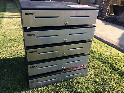 Micros Apg Cash Drawer W/ Till And Key Lot Of 5... Free Shipping!!!