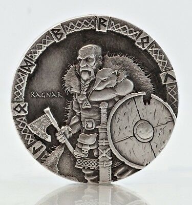 2015 $2 Niue Vikings Series -Ragnar 2 oz Silver High Relief Antique Rimless Coin