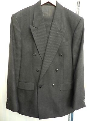 VINTAGE WW2 1940s HOME FRONT SPIV TYPE DOUBLE BREASTED PINSTRIPE SUIT 40-42C 35W