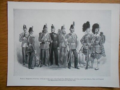 Vintage Military Print- Regiments Of The Line By G H Thomas 1869