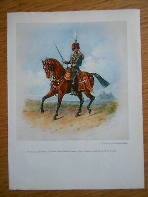 Vintage Military Print-  10Th Prince Of Wales Own Royal Hussars 1891 By R Simkin