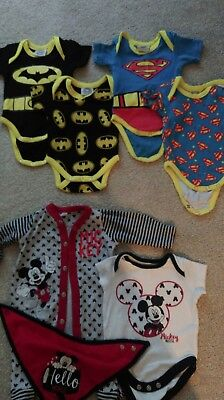 Baby boy bundle 0-3 vests and sleepsuit Marval and Disney