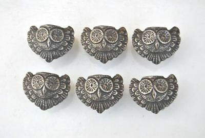 vtg 6pc victorian OWL face cast iron cabinet drawer door knobs handles pull