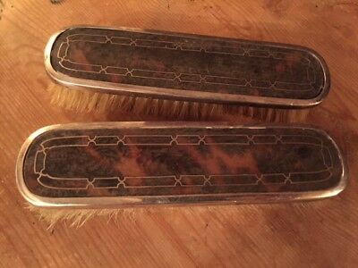 PAIR ANTIQUE, Birmingham SILVER & FAUX TORTOISE SHELL BRISTLE CLOTHES BRUSHES