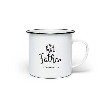 The Best Father Mug Fathers Day Present Novelty Gift Enamel Coffee Cup Tea 10oz