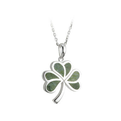 Shamrock Necklace Silver & Connemara Marble Choose Chain Length Made in Ireland