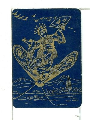 "Single Playing Card Vintage Antique Lacquer ""Japanese Lady"" JA-1-1 C, Blue/Gold"