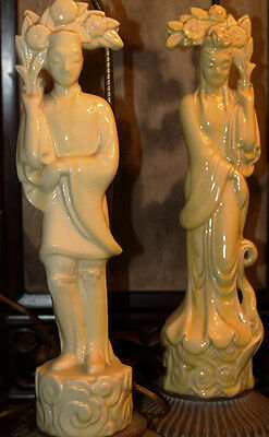 Rare Art Deco Pair Of Chinese Imperial Yellow Lamps