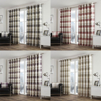 Fusion Balmoral Check 100% Cotton Eyelet Lined Curtains