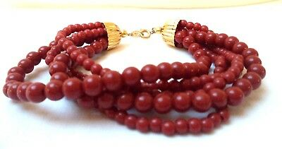 "Stunning Vintage Estate Signed Trifari Red Beaded 7"" Bracelet!!!! 8575V"