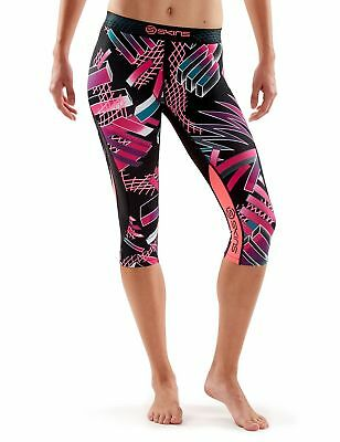 SKINS Women's DNAmic Compression 3/4 Capri Tights Junkyard Geo Large New