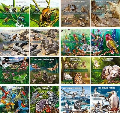 Animals Birds Butterflies Insects Fauna Central Africa 16 MNH sheets stamp set