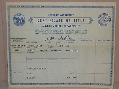 Collector Document 1953 FORD 4 DOOR CUSTOM Title HISTORICAL Suring Wisconsin