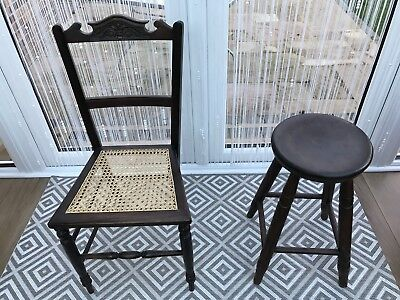 victorian farmhouse stool and cane Chair.