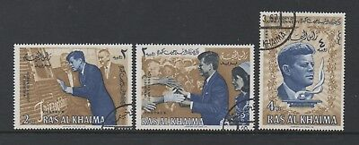 Ras Al Khaima 1965 President Kennedy Commemoration *set Of 3 Cto*