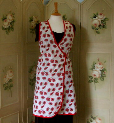 1930-1940's style wartime crossover apron re-enactment, kitchen use red poppy