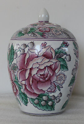 A C20th Chinese Famille Verte Large Peonies Blossoms Ginger Jar with Lid