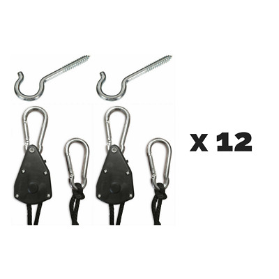 12 Pairs Happy Hydro Adjustable Hangers for Lights and Equipment with Hardware