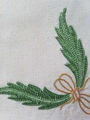 12 NAPKINS Antique French Linen hand embroidered EMPIRE motif 19 century