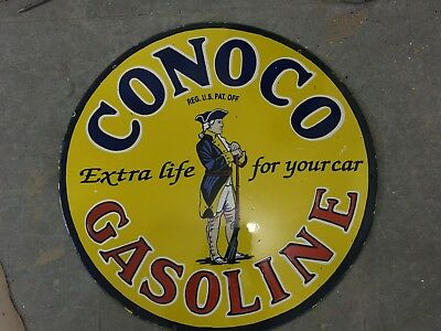 Porcelain Conoco gasoline PORCELAIN SIGN double sided 30 Inches Round