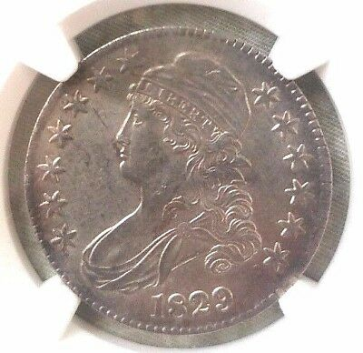 1829 Capped Bust Half Dollar NGC AU 55 O-107. GREAT COLOR AND TONING!