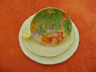 "Vintage Paragon Star Mark ""Nasturtium Flowers Cup and Saucer Plate Flower Handle"