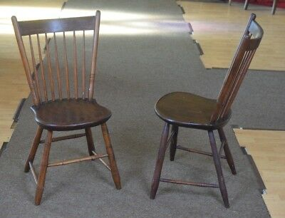 Antique Pair 7-Spindle Splat-Back Windsor Side Chairs Black Walnut