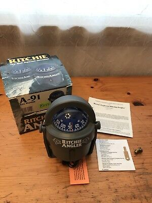 Ritchie Marine Boat Compass Magnetic Ra-91 Angler 12V Lighted Surface Dash Mount